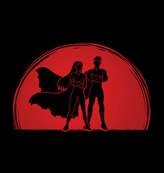 super hero man and woman standing vector image vector image
