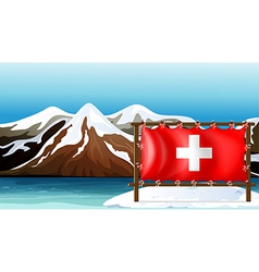 The flag of switzerland at the sea vector