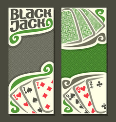 Vertical banners black jack for text vector