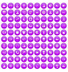 100 sea icons set purple vector