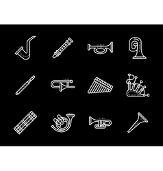 Music white line icons wind instruments vector