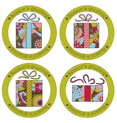 Seasons greeting stickers with christmas gifts vector