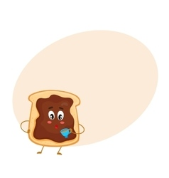 Cute and funny toast with chocolate spread vector