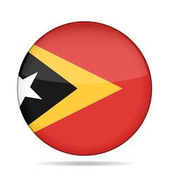 Flag of east timor shiny round button vector