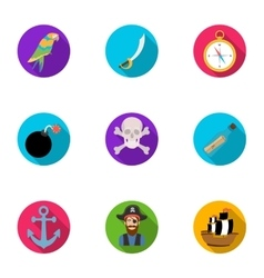 Pirates set icons in flat style big collection of vector