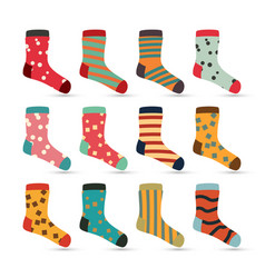 Child socks icons  big set in flat style vector