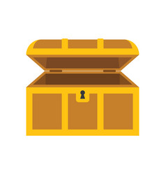 Wooden empty chest with open cover vector