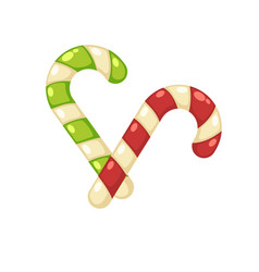 Christmas tasty sweet striped cane lollypops vector