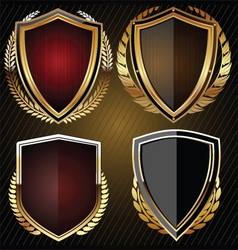 Golden shield set vector