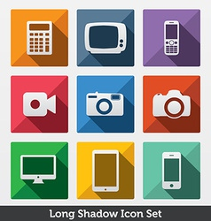 Digital long shadow icons vector