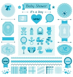 Boy baby shower set of elements for design vector