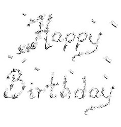 Spring happy birthday sign vector