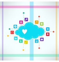 Music cloud with icons set online music vector