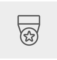 One star medal thin line icon vector image