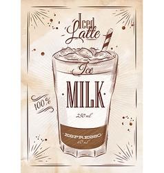 Poster iced latte kraft vector image