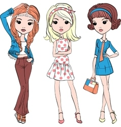 Set hipster fashion cute girl vector