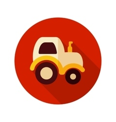 Tractor flat icon with long shadow vector