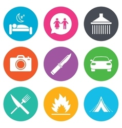 Hiking trip icons camping shower and toilet vector