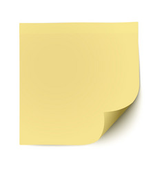 Yellow sticky note with deflected corner isolated vector