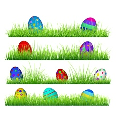 Green grass with easter eggs vector