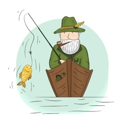 Fisherman in a boat with a fishing rod vector