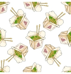 Seamless pattern color chinese noodles box vector image