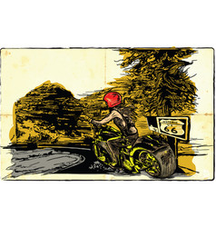 An woman riding motorcycle an hand drawn vector