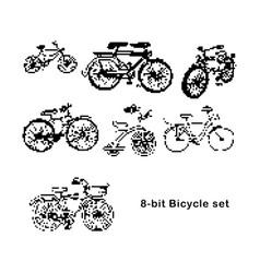 black 8-bit set of bicycle vector image vector image