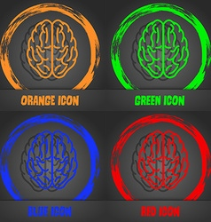 Brain icon Fashionable modern style In the orange vector image