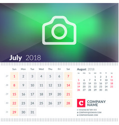 calendar for july 2018 week starts on sunday 2 vector image vector image