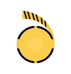 Caution striped tape warning icon vector