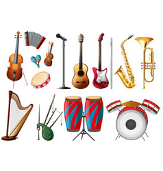 Different types of musical instruments vector