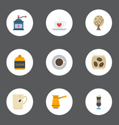 Flat icons cup sweetener coffee mill and other vector