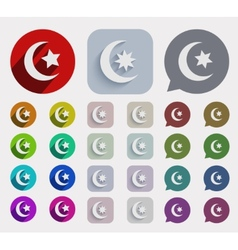 Flat ramadan icons set vector