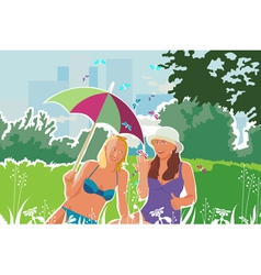 girls with butterflies camping vector image