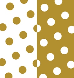Gold and white polka dots pattern and texture set vector