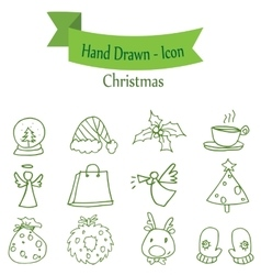 Green christmas icon set collection stock vector