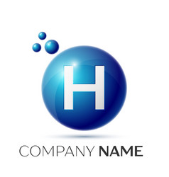 H letter splash logo blue dots and circle bubble vector