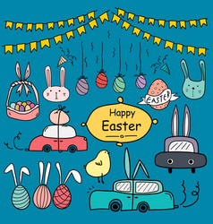 hand drawn doodle happy easter day set vector image
