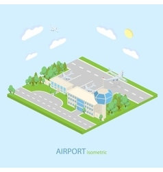 Isometric Airport with plans terminal and public vector image