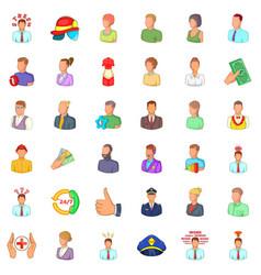 Job icons set cartoon style vector