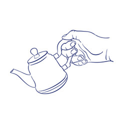 Keep teapot in hand vector