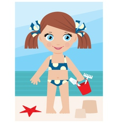 little girl on a coast with a bucket vector image vector image