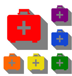 medical first aid box sign set of red orange vector image vector image