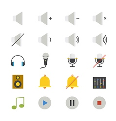 Music and Media Flat Icons color vector image vector image