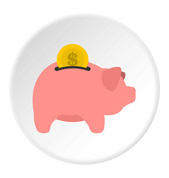 Pig money box icon circle vector