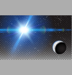 planet shining sun space stars moon background vector image