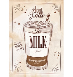 Poster iced latte kraft vector