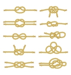 Rope knot decorative icon set vector