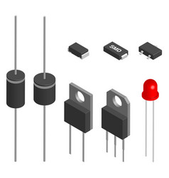 set of different diodes in 3d vector image vector image